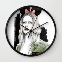 army Wall Clocks featuring Army Girl by Camis Gray