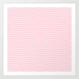 Light Soft Pastel Pink Chevron Stripes Art Print