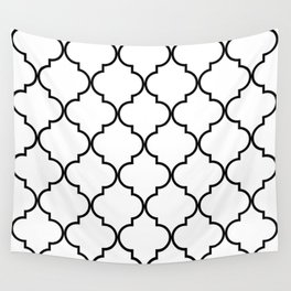 Quatrefoil - black on white Wall Tapestry