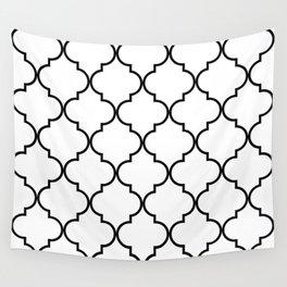 Quatrefoil - black on white Wall Tapestry