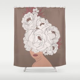 Woman with Peonies Shower Curtain