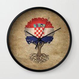 Vintage Tree of Life with Flag of Croatia Wall Clock