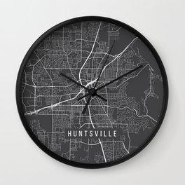 Huntsville Map, Alabama USA - Charcoal Portrait Wall Clock