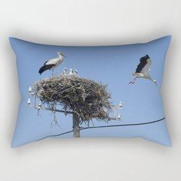 A storks' nest on a telegraph pole Rectangular Pillow
