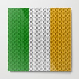 Flag of Ireland - knitted Metal Print