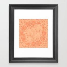 Ghostly alpacas with mandala in peach echo Framed Art Print