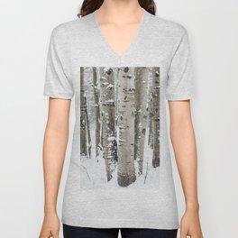 Winter Birch Forest Unisex V-Neck