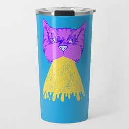 Cat Vomit - Purple Poot + Blue Background Travel Mug