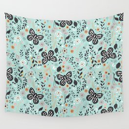 Flowers and butterflies pattern 002 Wall Tapestry