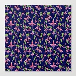 Watercolour Fuchsia Flower Pattern - Navy Canvas Print