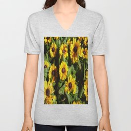 Yellow Daisy Patch Unisex V-Neck