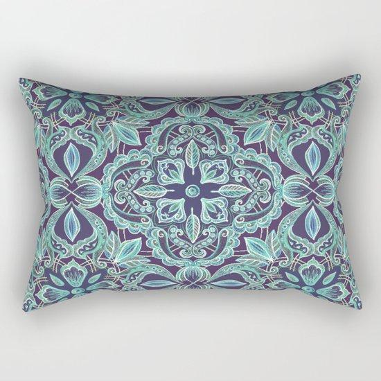 Chalkboard Floral Pattern in Teal & Navy Rectangular Pillow
