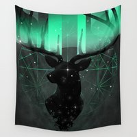 northern lights Wall Tapestries featuring Northern Lights by angrymonk