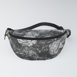 Flower Wall // Black and White Flat Floral Accent Background Jaw Dropping Decoration Fanny Pack