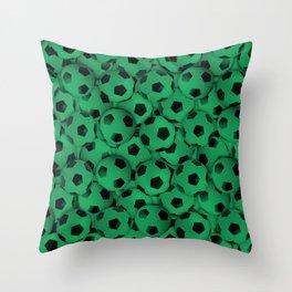Field of Green Soccer Balls Throw Pillow