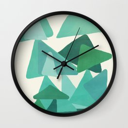 Green Colored Triangles Wall Clock