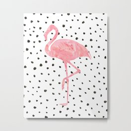 Flamingo Art print, Pink, Glam, Dalmatian, Tropical, Nursery, Living Room Metal Print