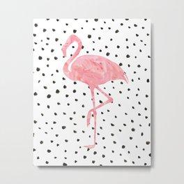 Flamingo Art print, Pink, Glam, Dalmatian, Tropical Art Metal Print