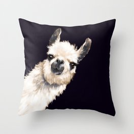 Sneaky Llama in Black Throw Pillow
