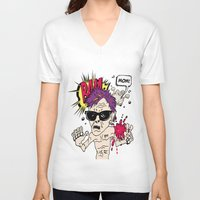 mom V-neck T-shirts featuring Mom! by Elsa Neves
