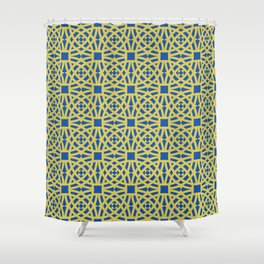 Gold Circle Zellige Pattern Shower Curtain