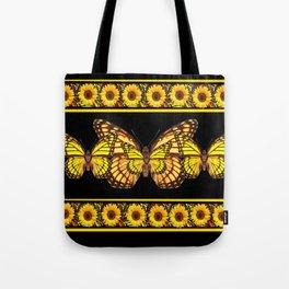 YELLOW MONARCH BUTTERFLIES & SUNFLOWERS BLACK ART Tote Bag