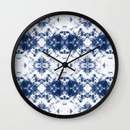 Shibori Tie Dye 3 Indigo Blue Wall Clock