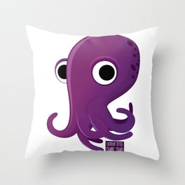Googly-Eyed Stubby Squid Throw Pillow