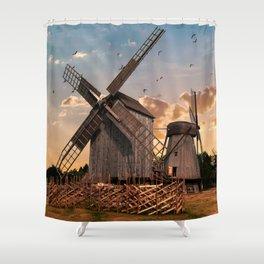 Traditonal dutch windmills at sunrise Shower Curtain