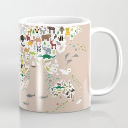 Cartoon world map for children, kids, Animals from all over the world, back to school, rosybrown Coffee Mug
