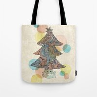 christmas tree Tote Bags featuring Christmas Tree by sinonelineman