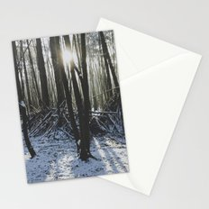Shelter in snowy woodland. Stationery Cards