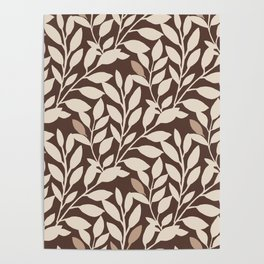 Leaves and Branches in Cream and Brown Poster