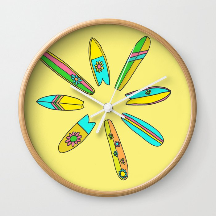 Retro Surfboard Flower Power Yellow Wall Clock By Peaceowlforest