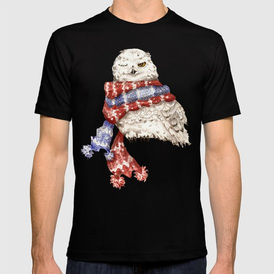 Winking Arctic Owl in Scarf T-shirt
