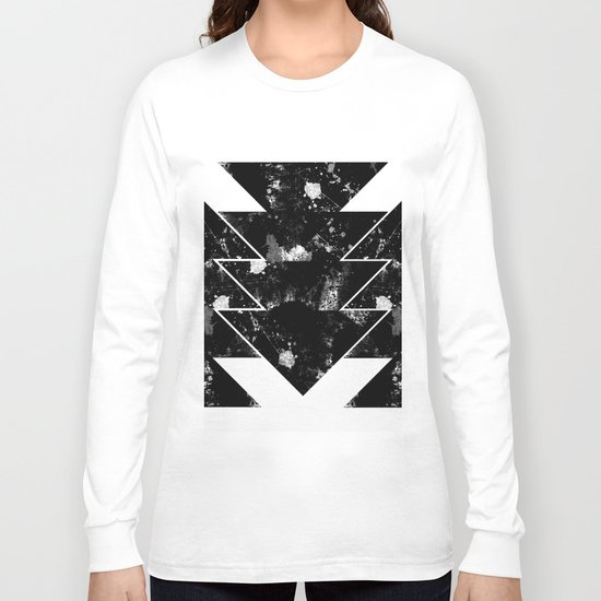 Up And Down - Black and white textured triangles, geometric, abstract Long Sleeve T-shirt