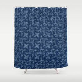 Floral leaf motif sashiko style japanese needlework pattern. Shower Curtain