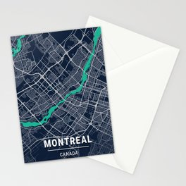 Montreal Blue Dark Color City Map Stationery Cards