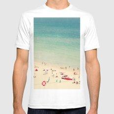 beach  White MEDIUM Mens Fitted Tee