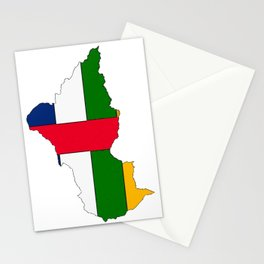 Central African Republic Map with Flag Stationery Cards