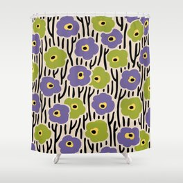 Mid Century Modern Wild Flowers Pattern Purple and Green Shower Curtain