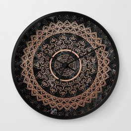 Mandala - rose gold and black marble Wall Clock