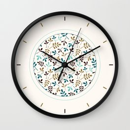 Assorted Leaf Silhouettes Teals Brown Gold Cream Ptn Wall Clock