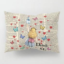 Drink Me - Vintage Dictionary Page - Alice In Wonderland Pillow Sham