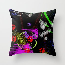 Cats in paint Throw Pillow