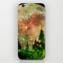 Full moon and stars - green iPhone Skin