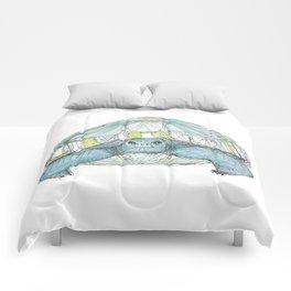 Turquoise Tortoise Illustration Comforters
