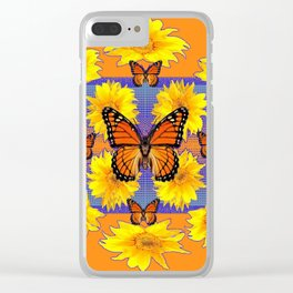 ORNATE YELLOW MONARCH BUTTERFLIES & YELLOW SUNFLOWERS Clear iPhone Case
