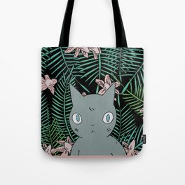 Cat with Palm Tree Leaves Tote Bag