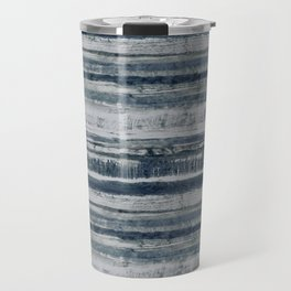 Expressive Indigo Watercolor Stripe Travel Mug